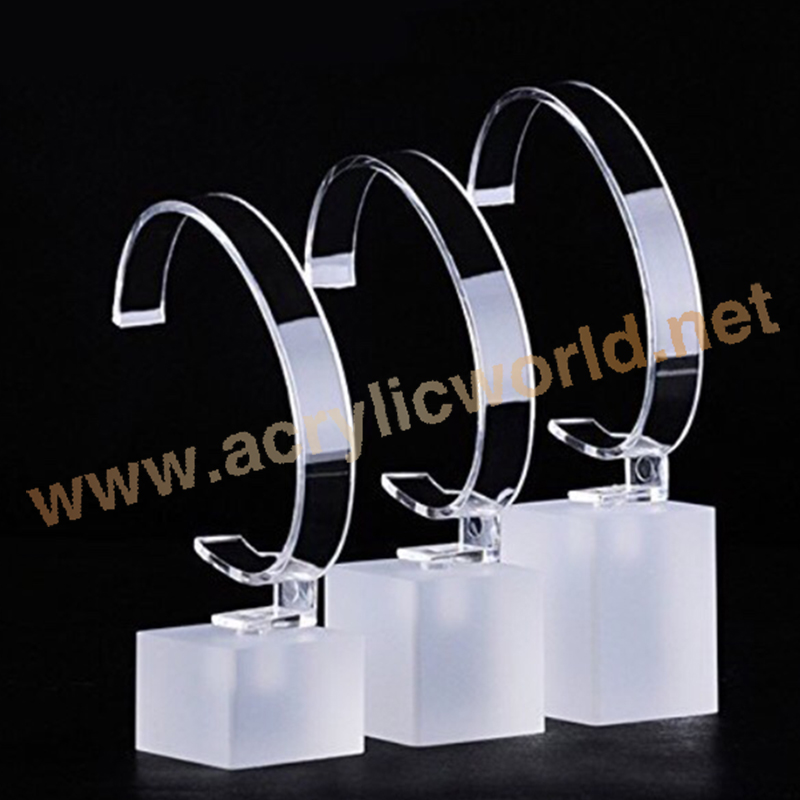 transparent acrylic wrist watch display block, plastic c clip for watch display