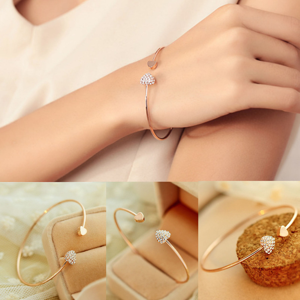 New Women Fashion Style Gold Rhinestone Love Heart Bangle Cuff Bracelet Jewelry