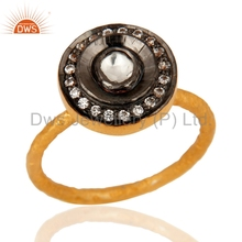 Gold Plated 925 Silver Trendy Ring Cz And Crystal Quartz Gemstone Rings Manufacturer Girls Valentine Gift Jewelry