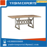 NATURAL FINISH DINING TABLE WITH NICKLE FINISH IRON GRILL BASE SUPPORT