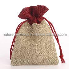 Fashion made in India reusable jute drawstring burlap bags wholesale