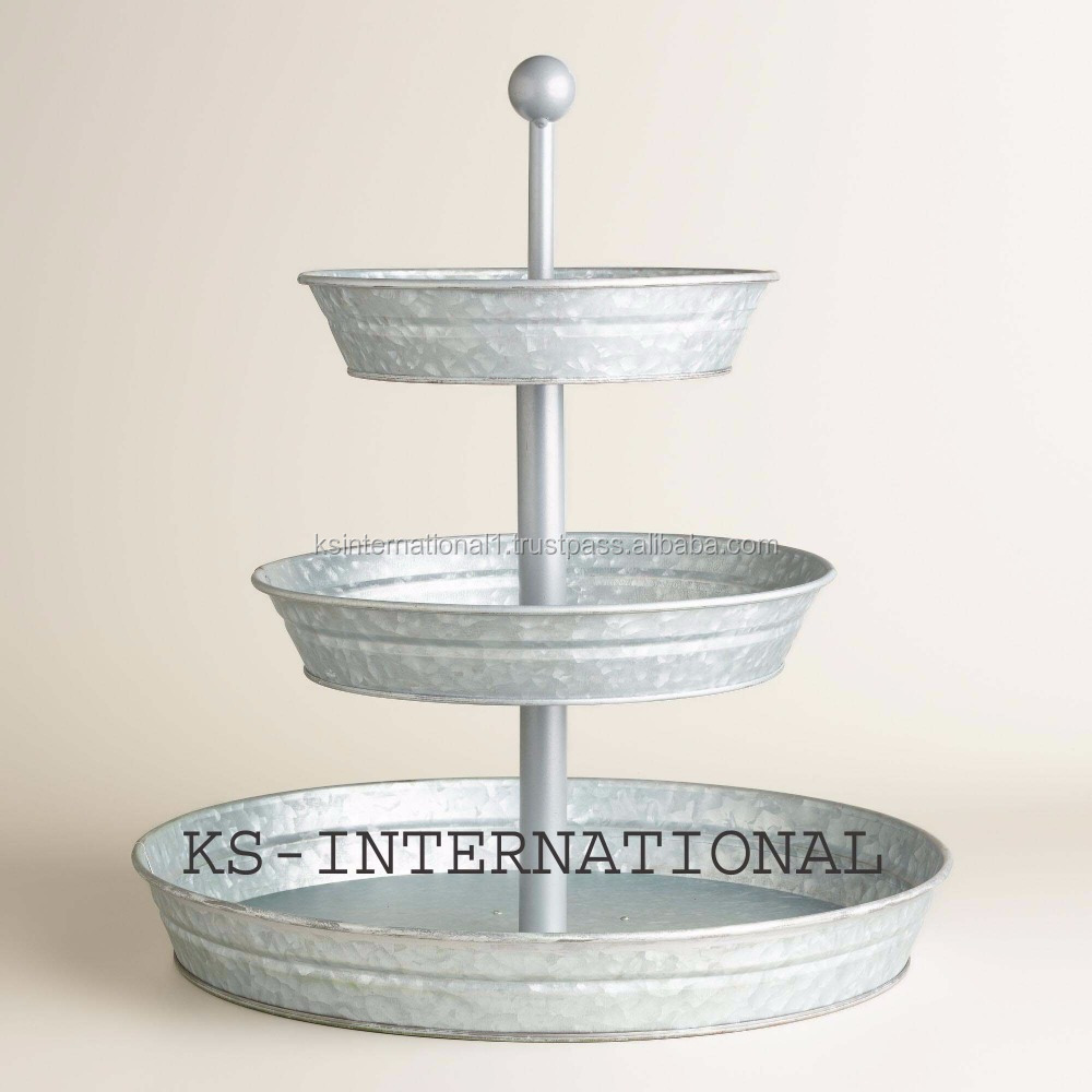 white galvanized metal food Tray 3 tier cake stand