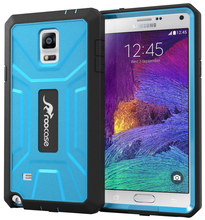 Tough PC / TPU Silicone Hybrid Rugged Hard Shell Cover Smartphone Case with Built-in Screen for Note 4 roocase (Blue)