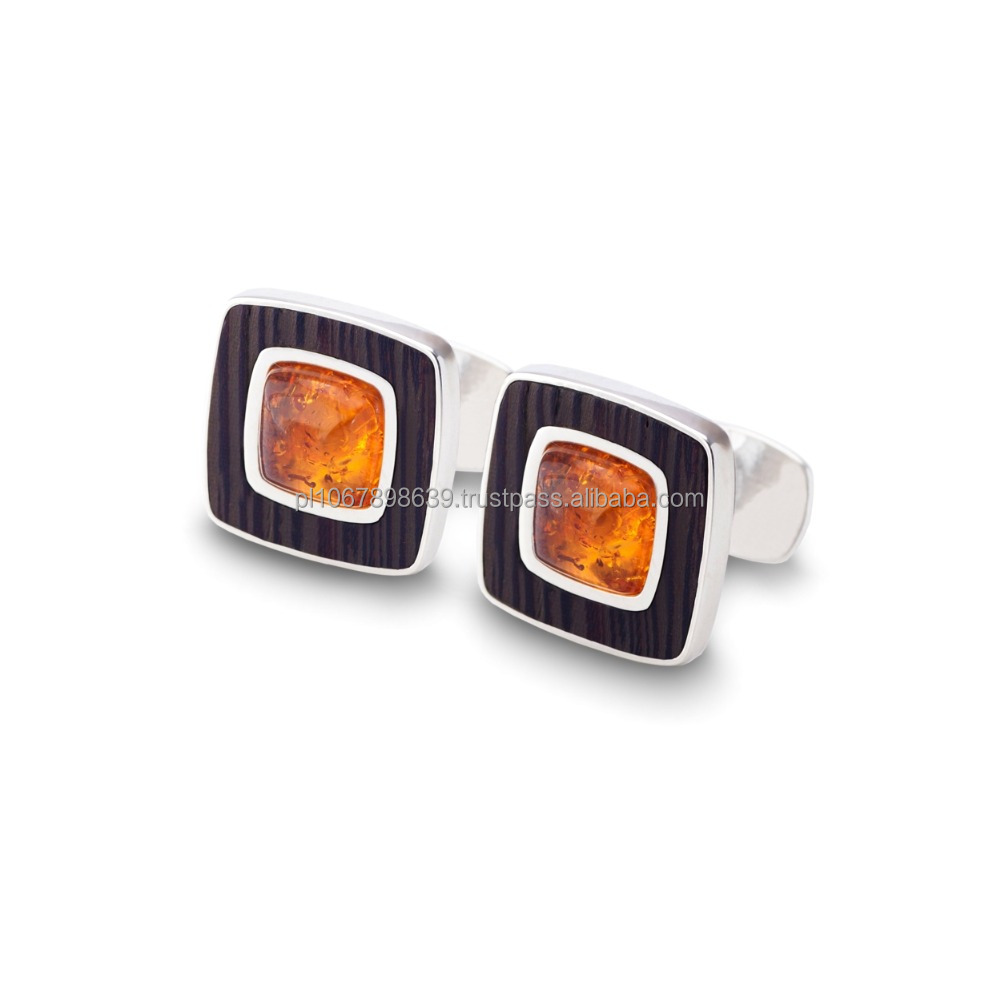 Elegant cufflinks with 925 silver, Baltic Amber and exotic Wenge wood
