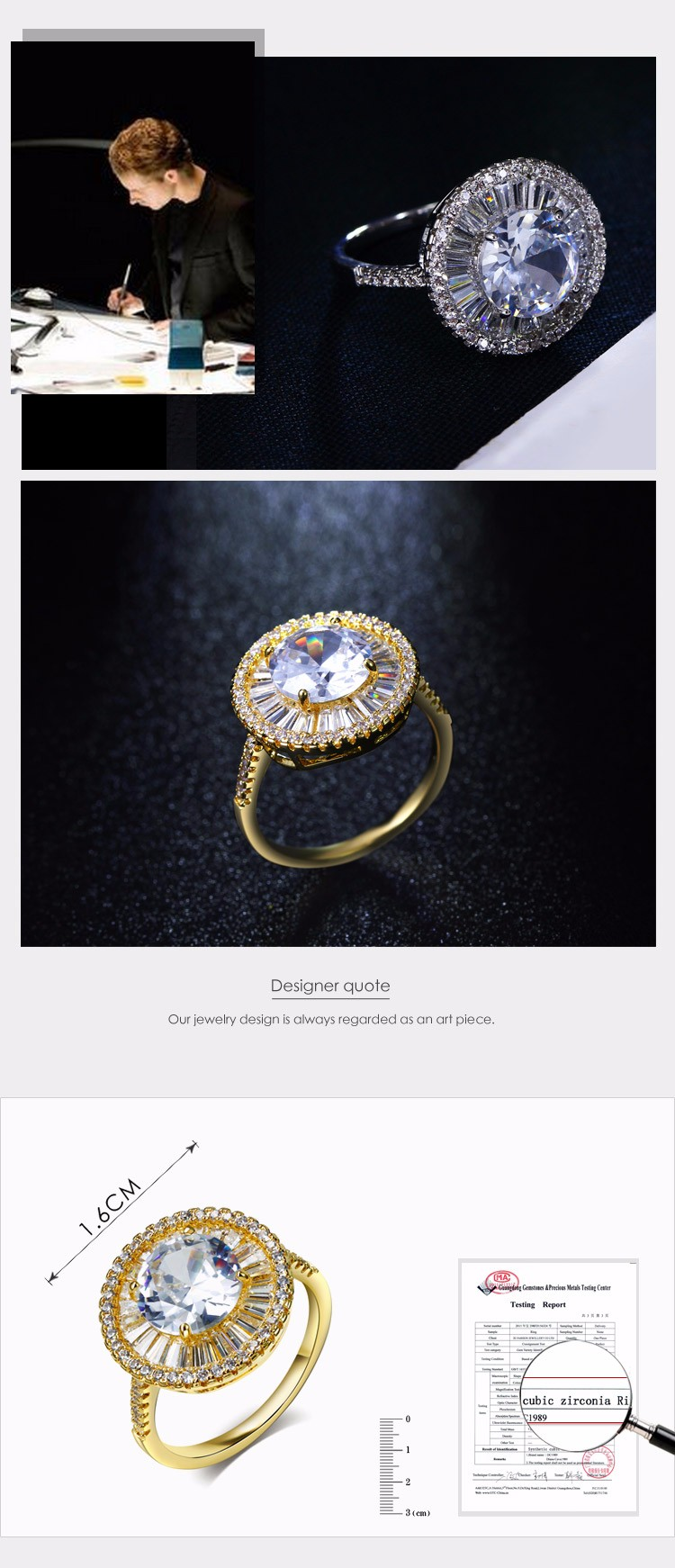 Luxury Bridal Rings Cubic Zirconia Wholesale Alibaba Jewelry Supplier Fashion Ring