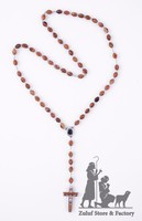 Large Natural Carved Beads Olive Wood Jerusalem Rosary w/Soil, Silver Chain and Crucifix - ROS041