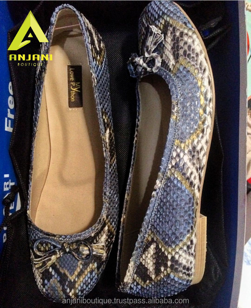 Ladies Ballet Shoes Genuine Python Skin Casual