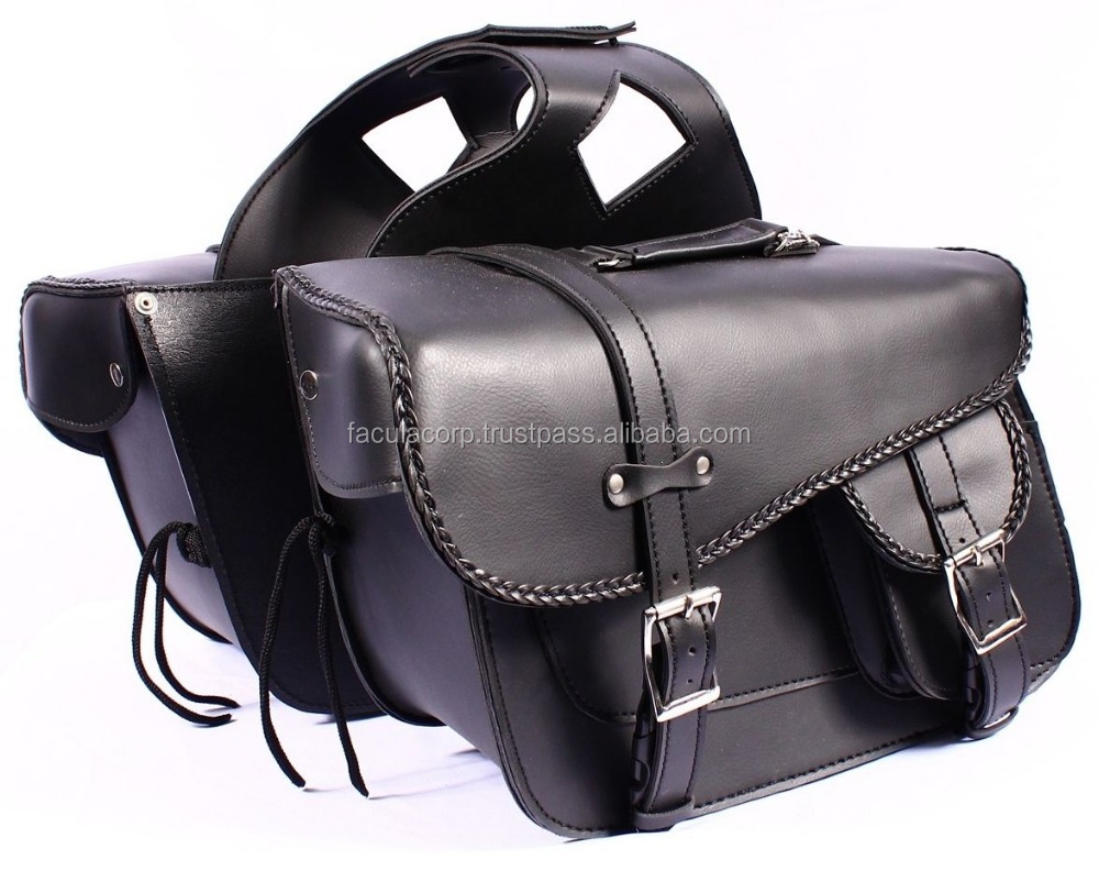 New Black Biker Cruiser Motorcycle Ride PU Leather Saddle Bag FC-34037