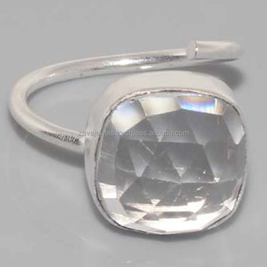 Sparking Fashion Designer Faceted Crystal Quartz Silver Plated Gemstone Ring, Wholesale Fashion Jewelry India ZR-57
