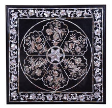 Black Marble Mother Of Pearl Inlay Coffee Table Top Square Shape Table Top