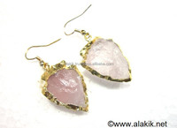 Rose Quartz Eletroplated Arrowhead Earrings : Agate Gemstone Crystal Exporter INDIA khambhat