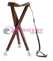 Wooden Folding Chair Stool Leather Seat Camping Fishing Hunting Tripod Stool