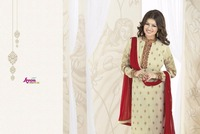 New Georgette Designer Dark Cream colour Straight long salwar kameez