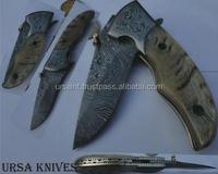 Custom Damascus folder knife Carbon Steel 224 Layers TWISTED Pattern Damascus Forged knife blade, Damascus Bolsters Ram UI-50