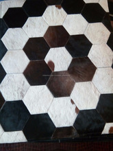 Leather Square Rug - Genuine Leather - Cow Hair on
