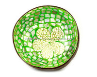 Mosaic mother of pearl coconut bowl, lacquer coconut shell bowl for home decor, snack bowl