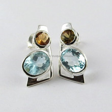 Heavenly ! Blue Topaz & Citrine 925 Sterling Silver Earring, Silver Jewelry Wholesaler, Online Silver Jewelry