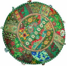 Green Ottoman Bohemian Embroidered Footstool Decorative Bean Bag Indian Pouf Foot Stool