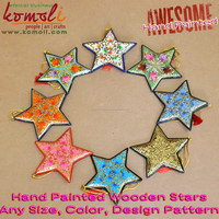 2017 Christmas decorations Hand painted Christmas ornament stars craft