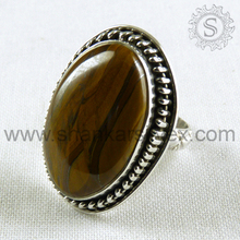 Tiger Eye Ring For Lady Natural Gemstone Silver Jewelry 925 Sterling Silver Ring Wholesaler