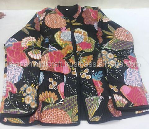 Cotton Quilted Jacket Winter Warm Hand Block Print Women Coat Blazer Reversible
