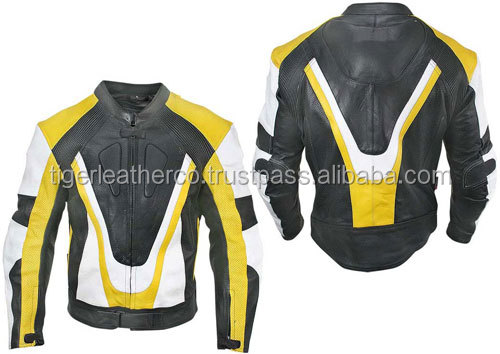 yellow, black and white colors leather jacket