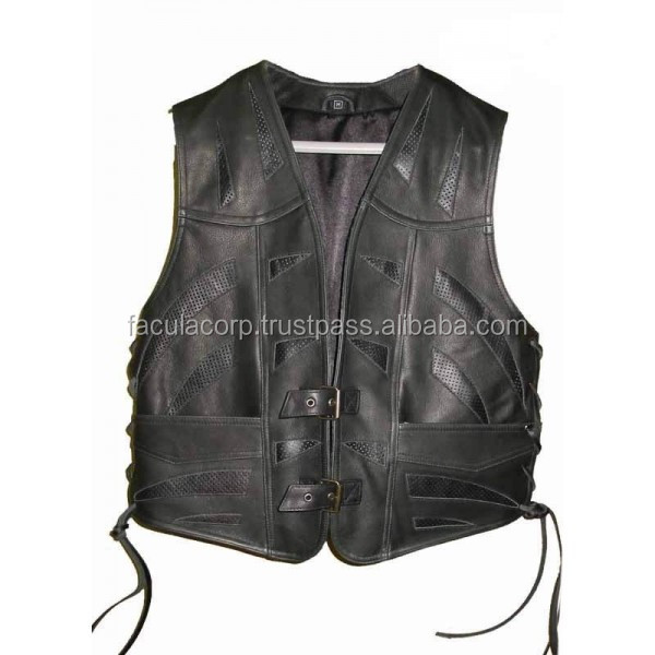 2016 GOTHIC STYLE GENUINE LEATHER VEST WITH SWATCHES STEAMPUNK FC-5318