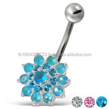 Cubic Zirconia Flower Belly Button Ring Sterling Silver Navel Rings 14 gauge Piercing Barbell Stud Ring Wholesale