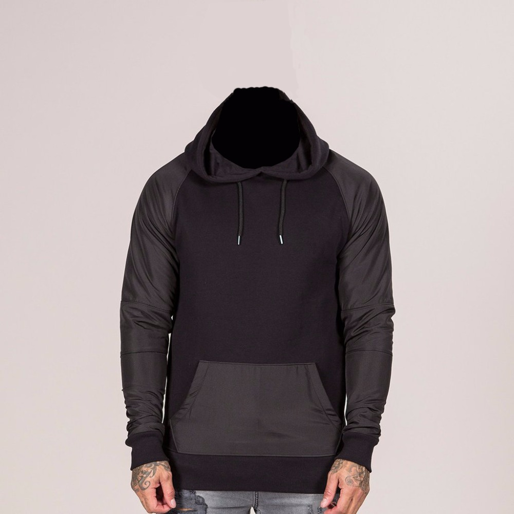 Black Raglan sleeves Hoodie made of cotton polyester