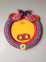 Hand crafted Gift Wooden Decor Paper Mache Thali Peacock Design