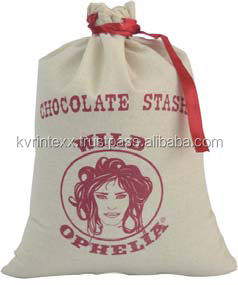 Custom Logo Printing Small Drawstring Linen Bag