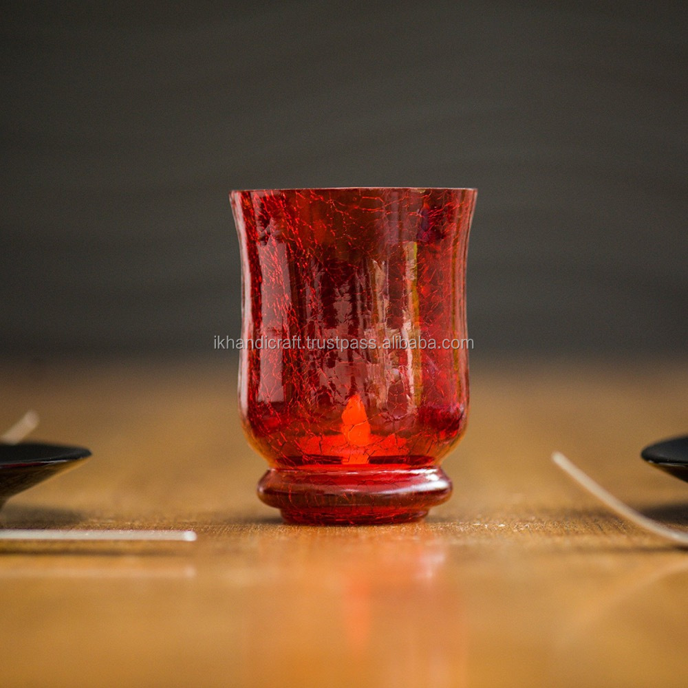crackle glass candle holder in red / glass hurricane / crackel red glass vase