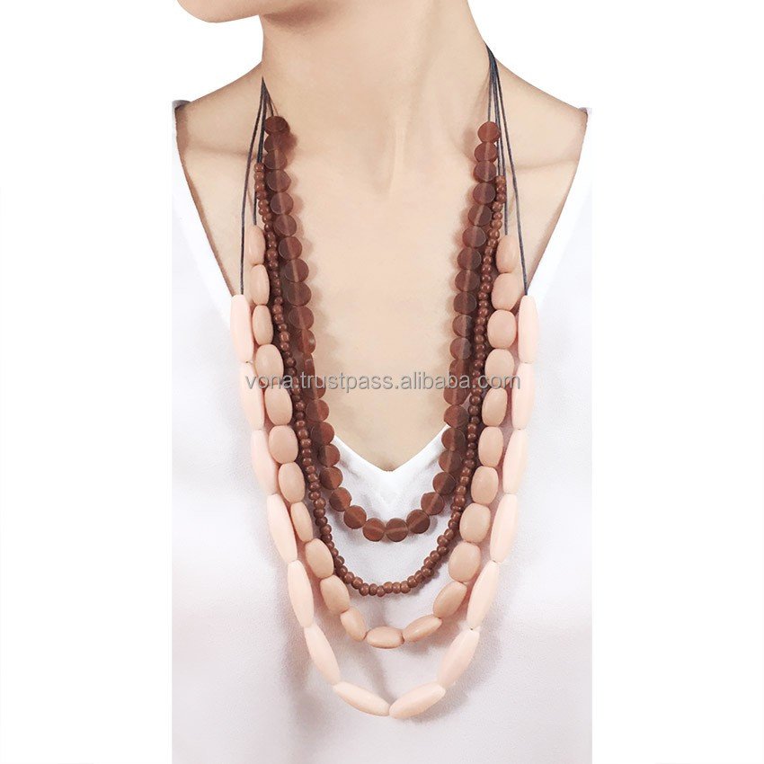 Necklace Bead Jewelry Women Wholesale Jewellery (TER1603-Brown)
