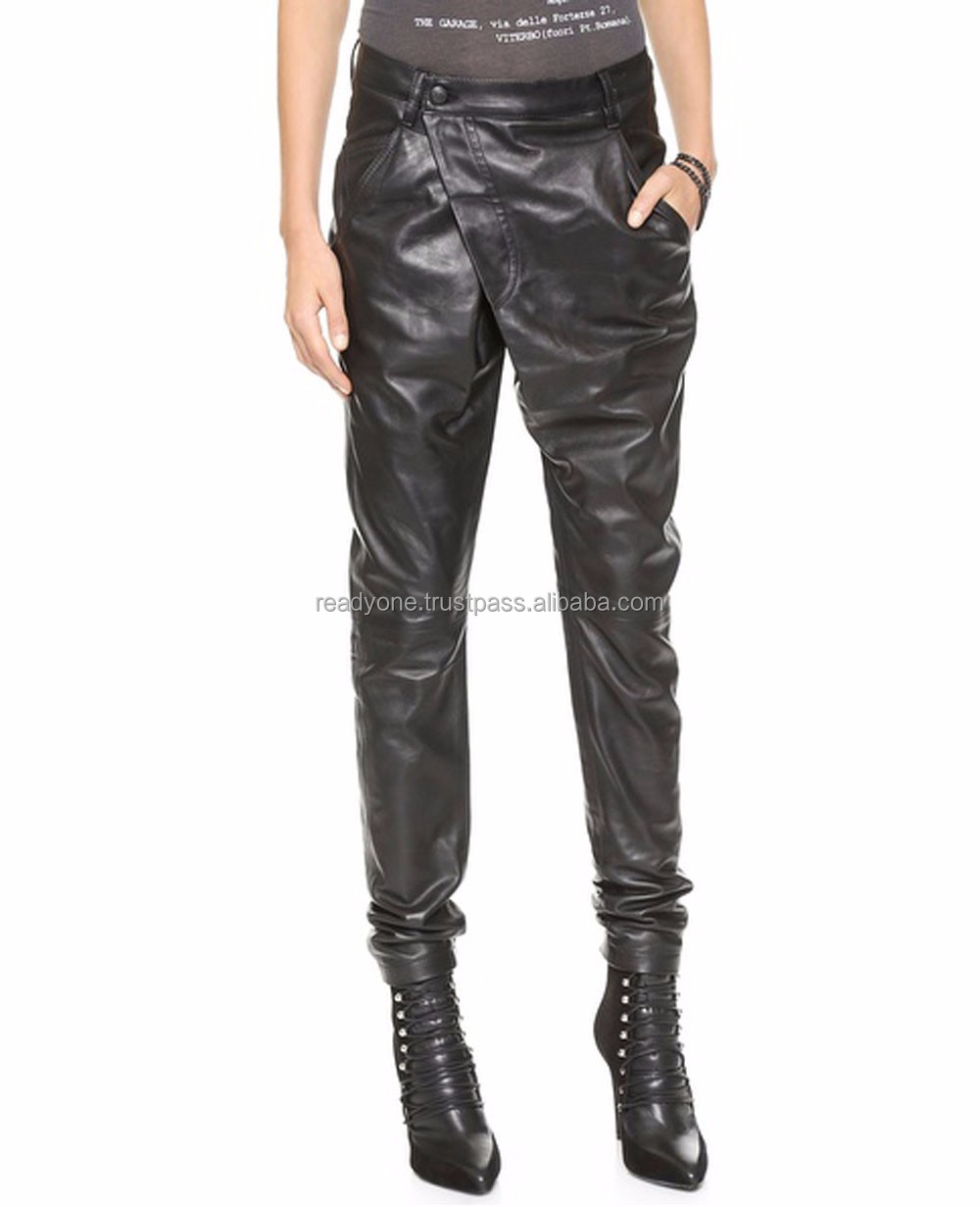High Neck Zipper Front Long Sleeve Leather Jumpsuits For Women