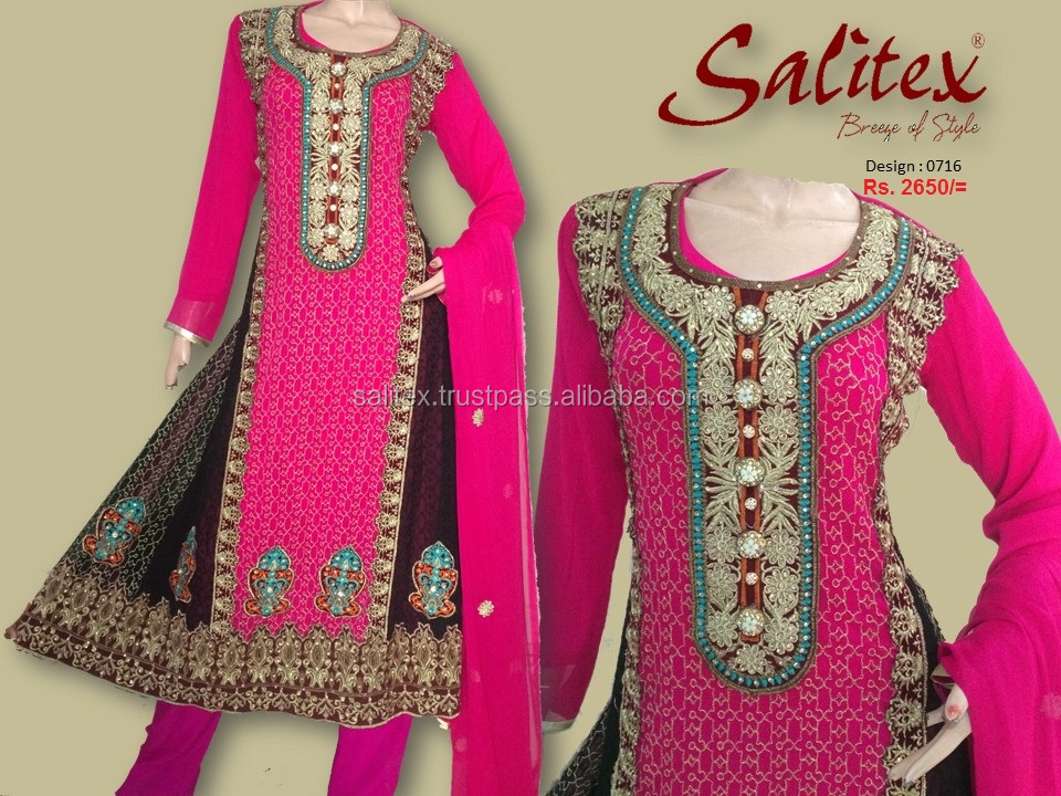0716- Salitex Chiffon a line frocks designs 3 piece suit fancy ladies suits ladies salwar suit design