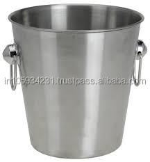 Silver Finish SS Single wall Ice Bucket with Round Rings