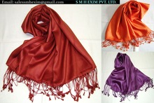 Satin weave pure silk shawl and scarf in wide range of colors UK