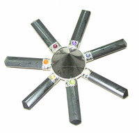 Wholesale Of Chakra Energy Generator : Black Tourmaline 7 Point with 3mm Cabs Energy Generator Tool