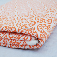 Beautiful Orange Damask White Voile Indian