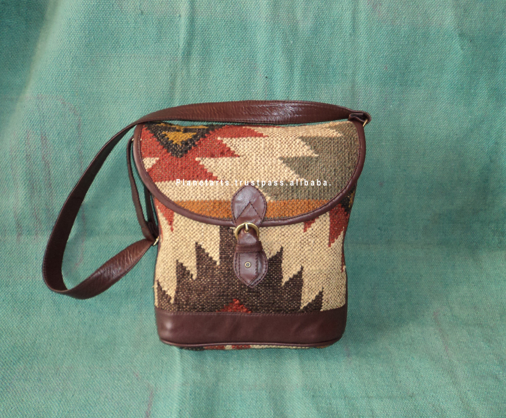 jute wool kilim genuine leather bag cross body bag