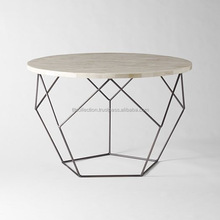 Oval Shape Hexagon Shape Big Center Table With Marble Top Black Table Side Table