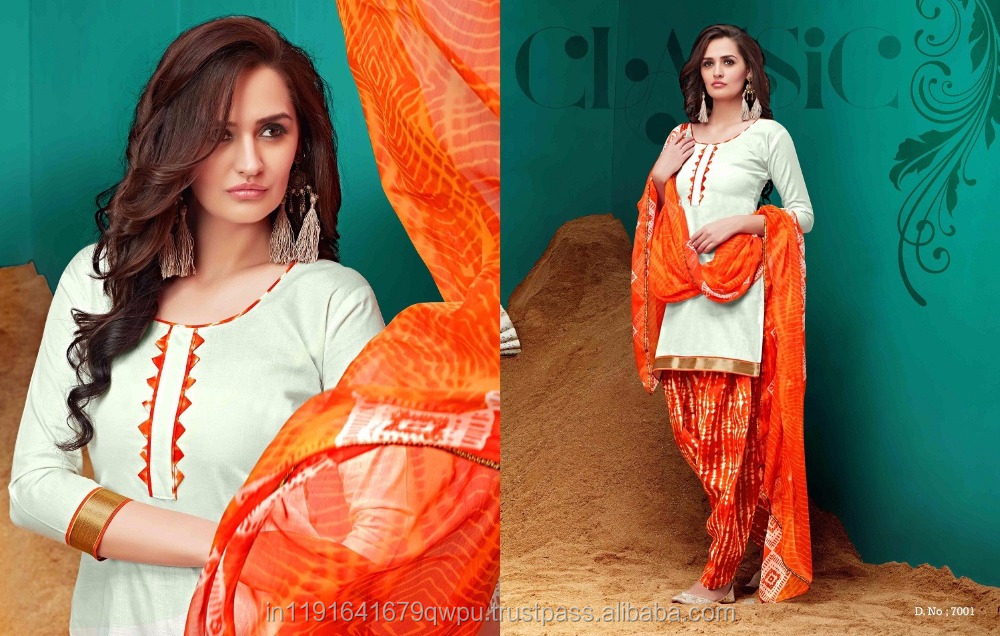 Casual Wear Daily Wear Work Wear Cotton Patiala Dress Material Online Shopping In Surat Wholesaler/Embroidered Salwar Kameez