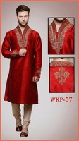 new Red embroidered wedding Kurta designs for men