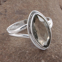 Green Amethyst Cut Solid Wholesale Sterling Silver Rings R1-10