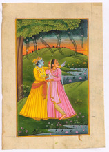 Radha Krishna Religious Miniature Indian Painting Handmade Paper Original Water Color Ethnic Painting