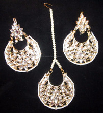 JADAU KUNDAN GOLD PLATED Dangler chand bali EARRINGS TIKA SET real look