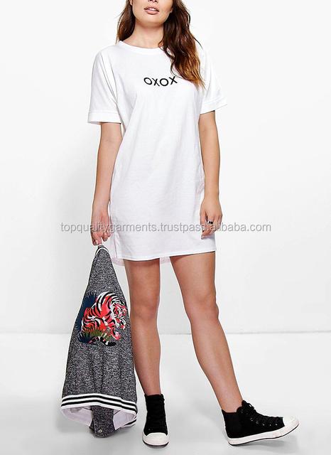 High End Quality O Neck White Tshirt Dress Fashion Women Girl Ladies Short Sleeve Cotton Odm Customize Print