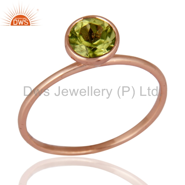 Wedding Designer Rose Gold Ring Peridot Gemstone Stylish Engagement Rings Manufacturer of Girls Jewelry