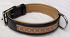 Hand-tooled genuine leather harness dog collar soft padded
