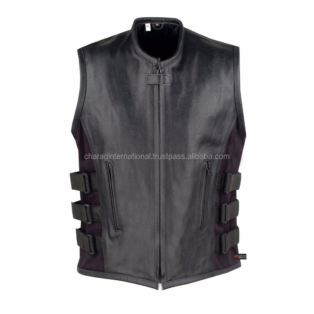 Men's Tailor Made motorbike Vest, Top Quality Leather Motorcycle vest, Biker New Style Chopper